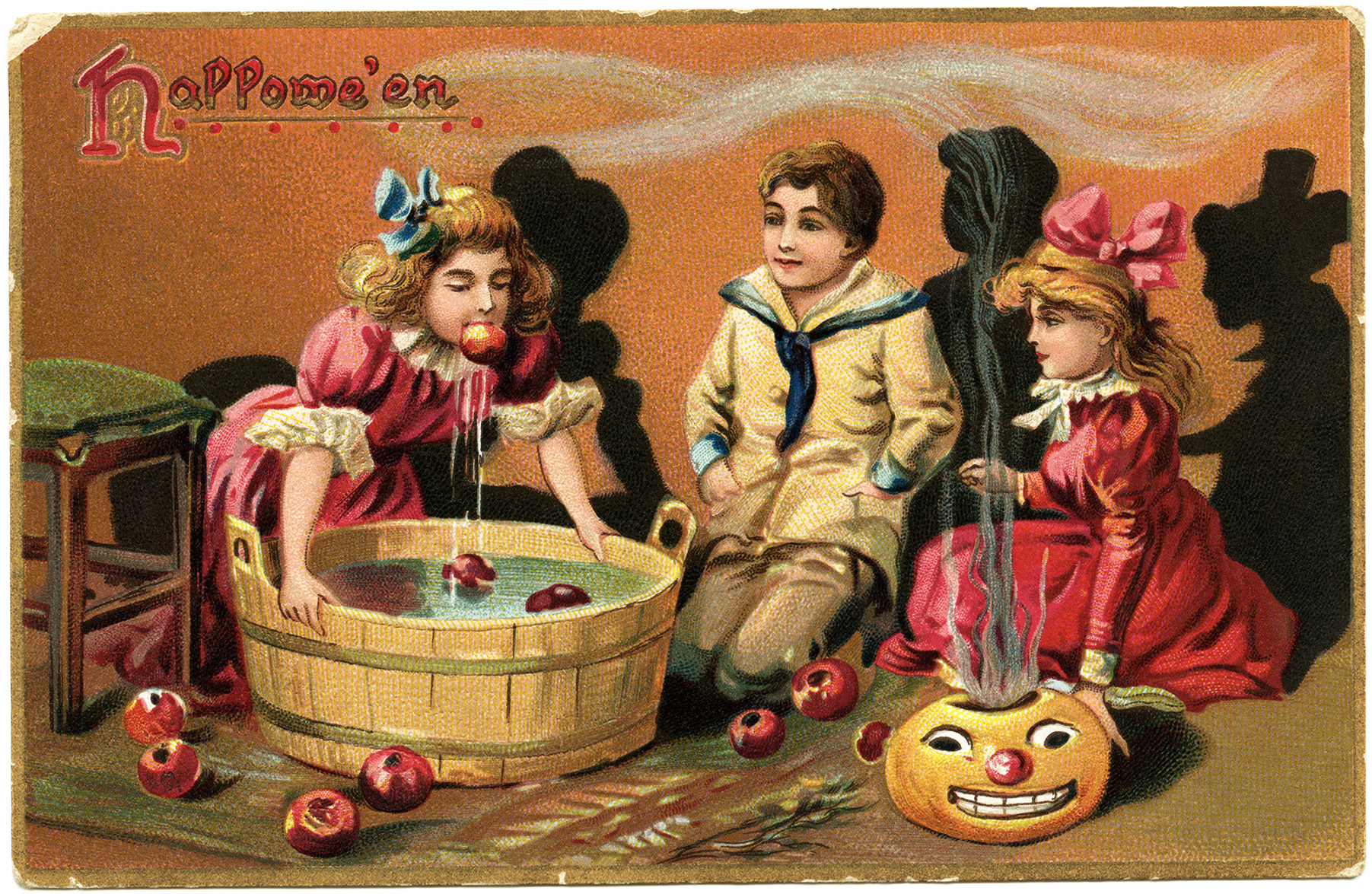 tuck's halloween postcard, apple bobbing image, vintage Hallowe'en graphic, old fashioned halloween printable, Victorian children party