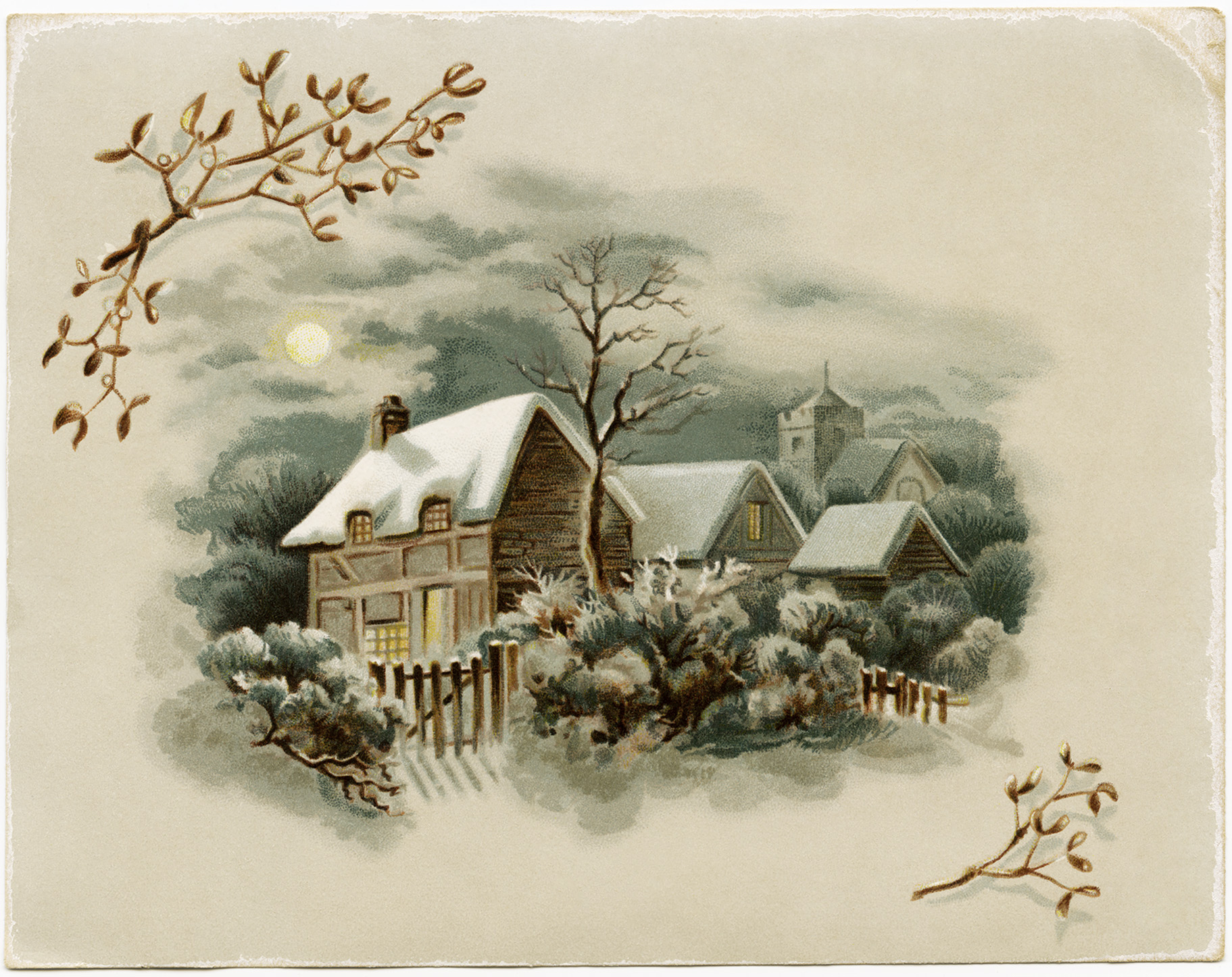 Winter Scene Victorian Card Free Download Old Design Shop Blog