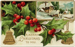 vintage christmas postcard, antique christmas card, old fashioned holiday greeting, holly and berries clip art