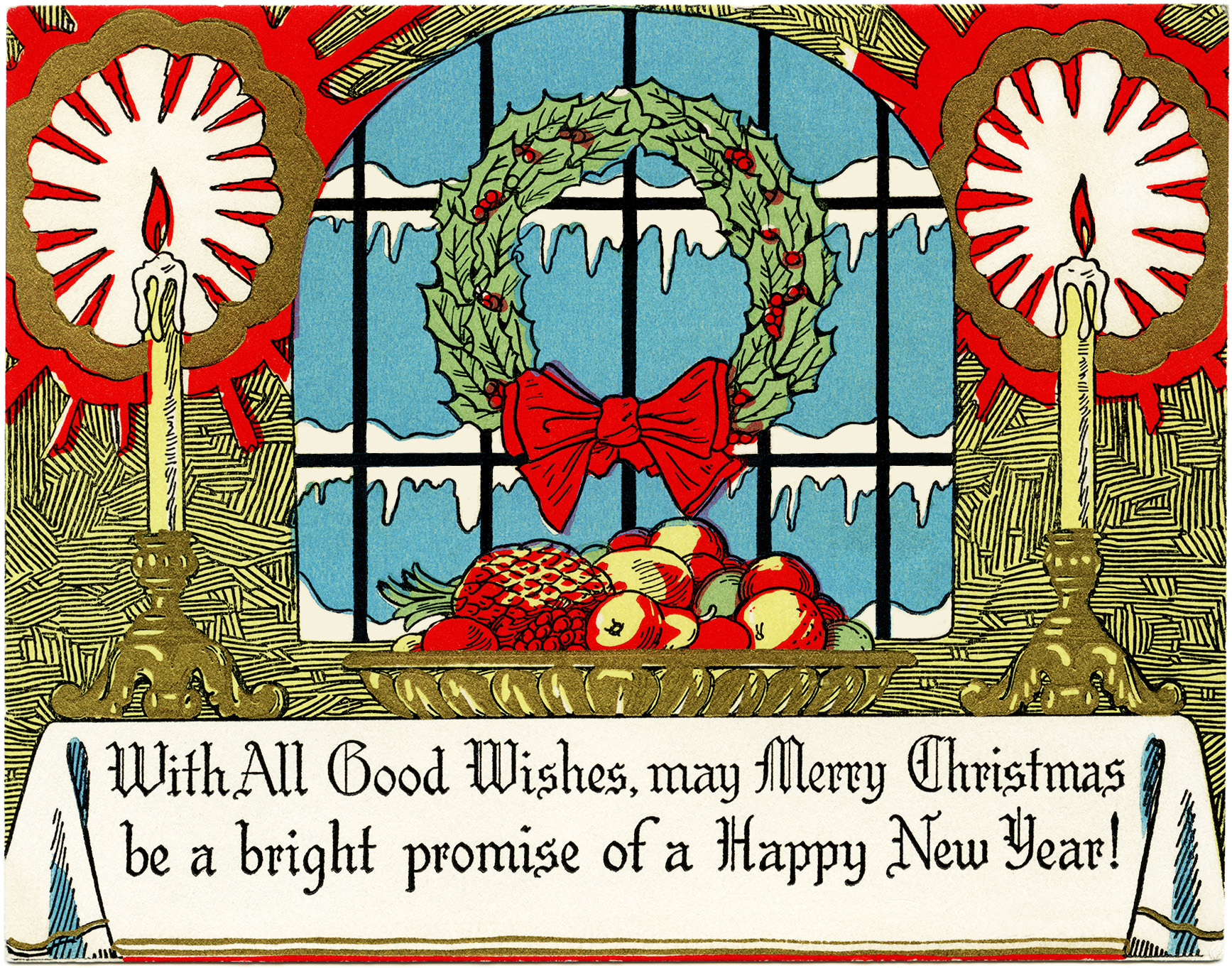 Wreath from old christmas cards - Wreath Candles Fruit Christmas Card Free Vintage Image