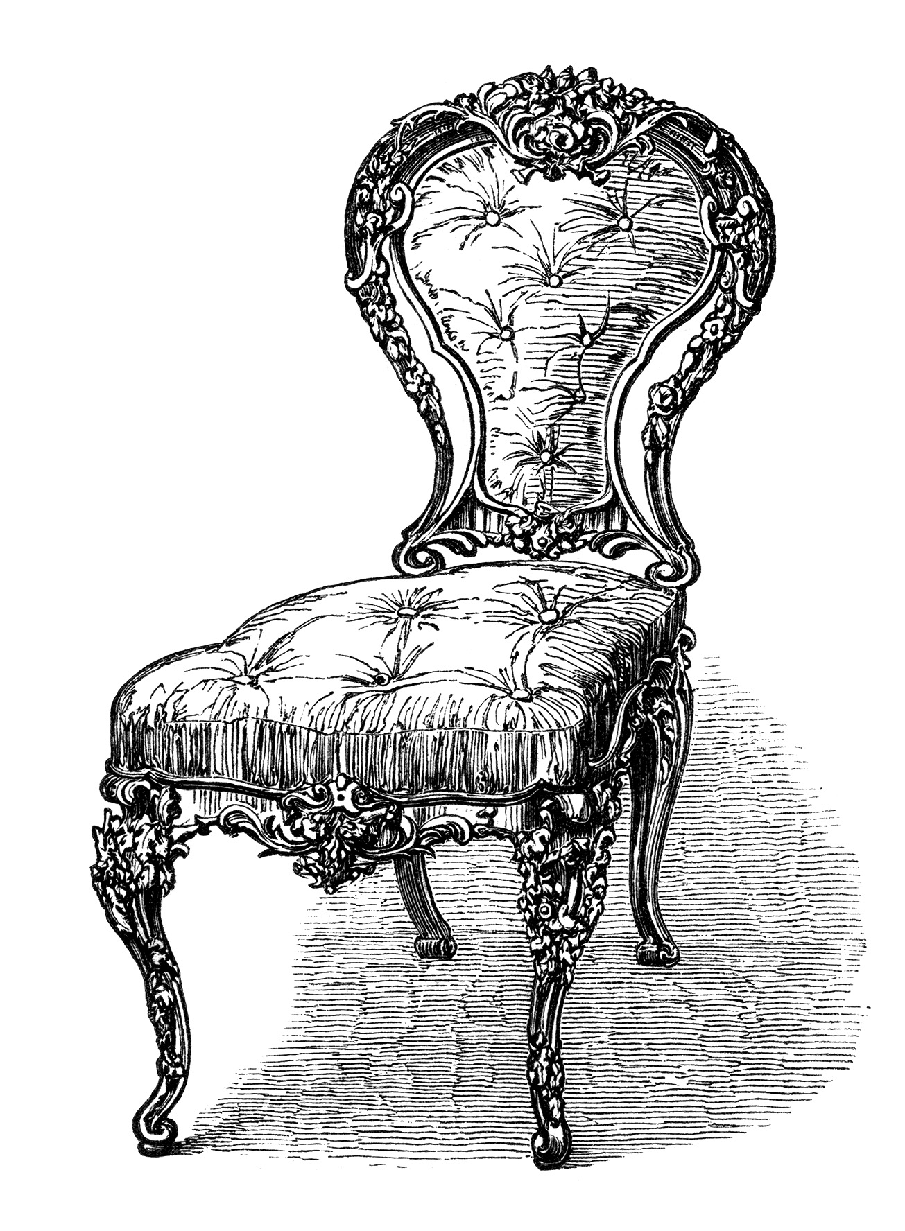 Ordinaire ... Vintage Chair Clip Art, Black And White Clipart, Antique Chair  Engraving, Old Fashioned ...
