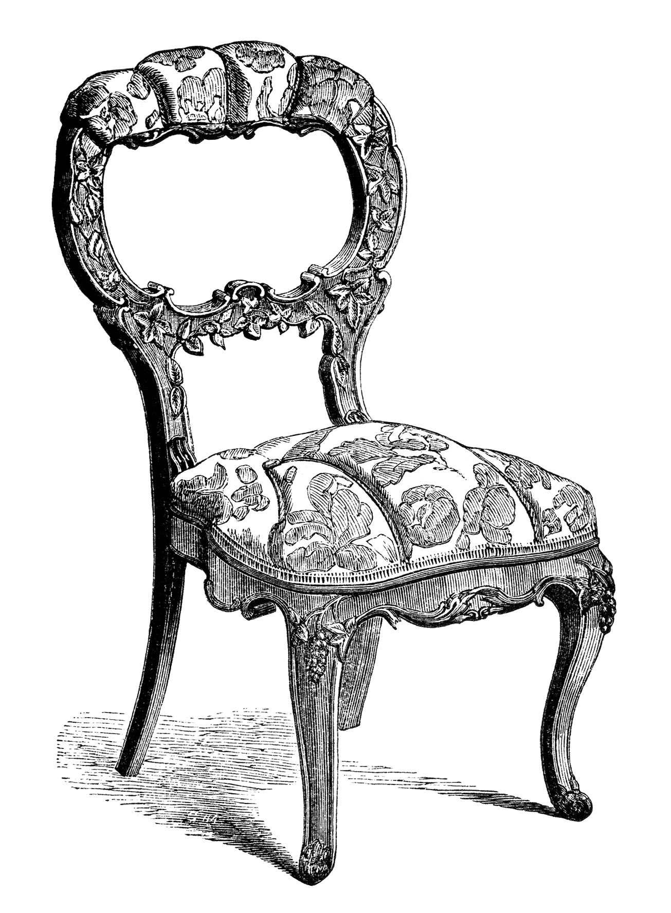 Vintage Chair Clip Art Black And White Clipart Antique Engraving Old Fashioned
