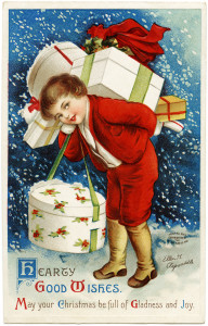 Free vintage printable Ellen Clapsaddle Christmas boy carrying gifts