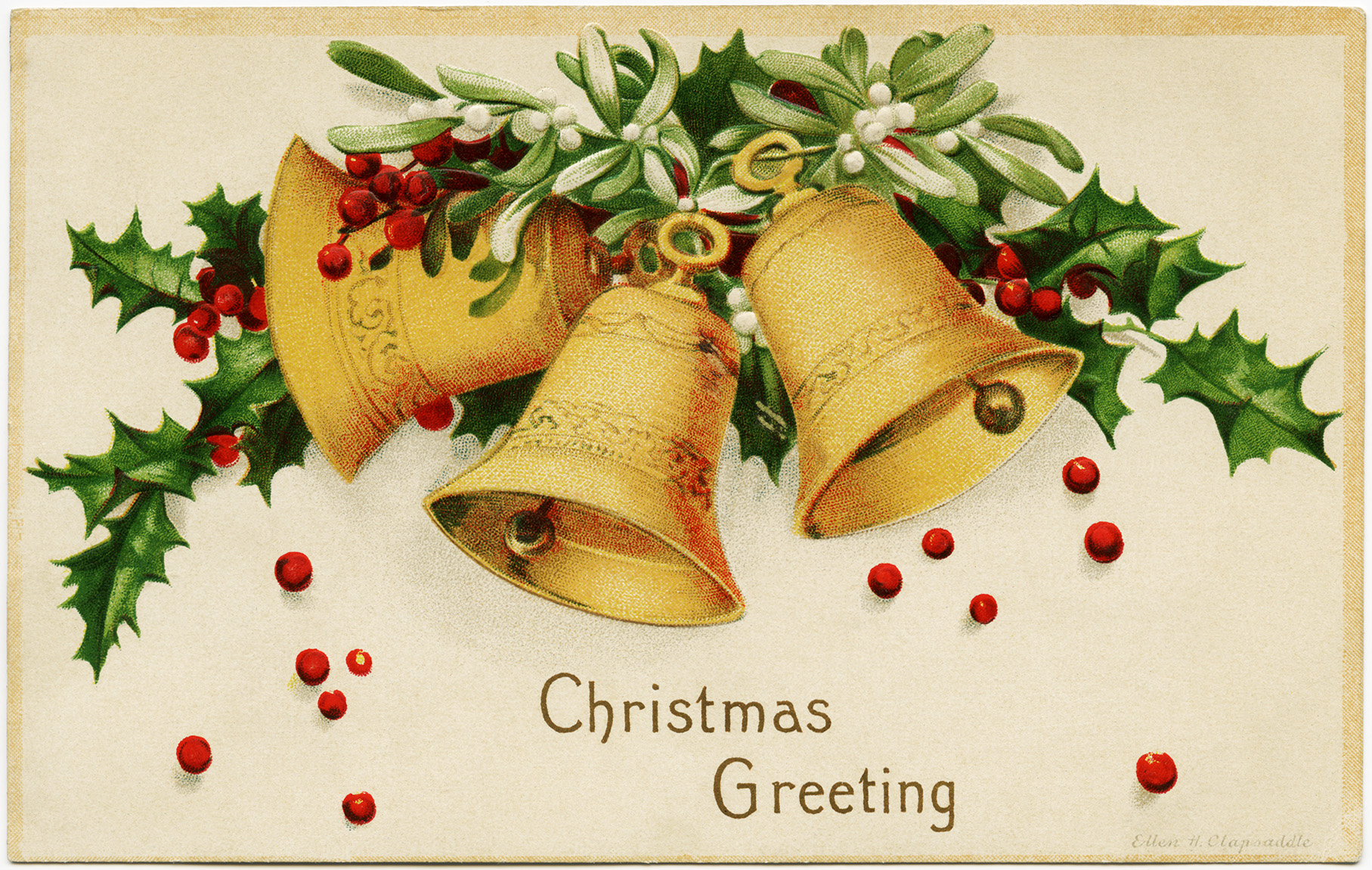 ellen clapsaddle postcard, vintage Christmas postcard, yellow bells holly berries image, christmas bell clip art, free vintage holiday printable