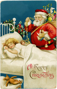 vintage clapsaddle postcard, santa girl sleeping, old fashioned christmas card, santa with bag of toys, printable vintage christmas