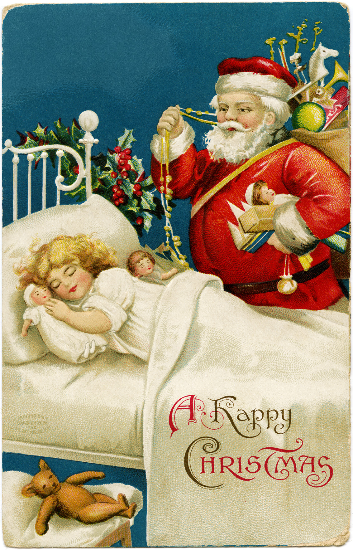 vintage clapsaddle postcard, santa girl sleeping, old fashioned christmas card, santa with bag of toys, printable vintage christmas