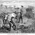 coming home for Thanksgiving, black and white clip art, free vintage graphic, public domain illustration, men working in field image