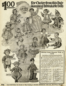old catalogue page, vintage printable toys, antique dolls, 1916 sears, vintage toy dolly clip art