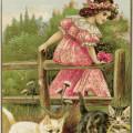 vintage christmas postcard, girl pink dress clipart, old fashioned christmas card, antique postcard girl kittens, free vintage printable