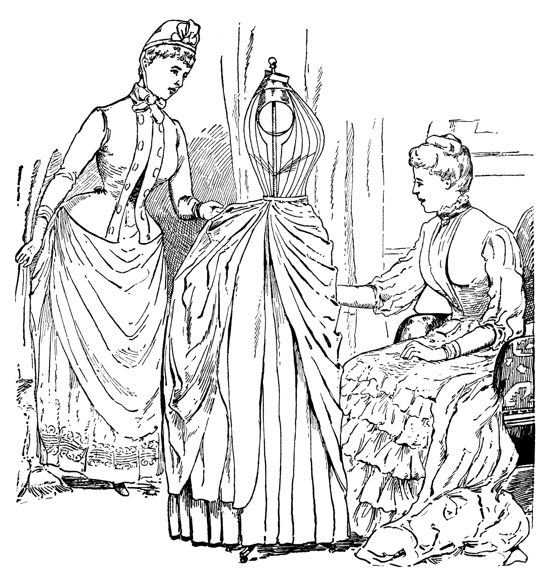 halls bazar dress form, antique magazine ad, vintage sewing clipart, free black and white clip art, victorian ladies illustration