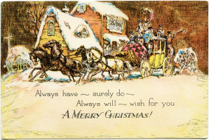 vintage Christmas card, horse drawn carriage clipart, old fashioned Christmas greeting, horse and buggy winter scene