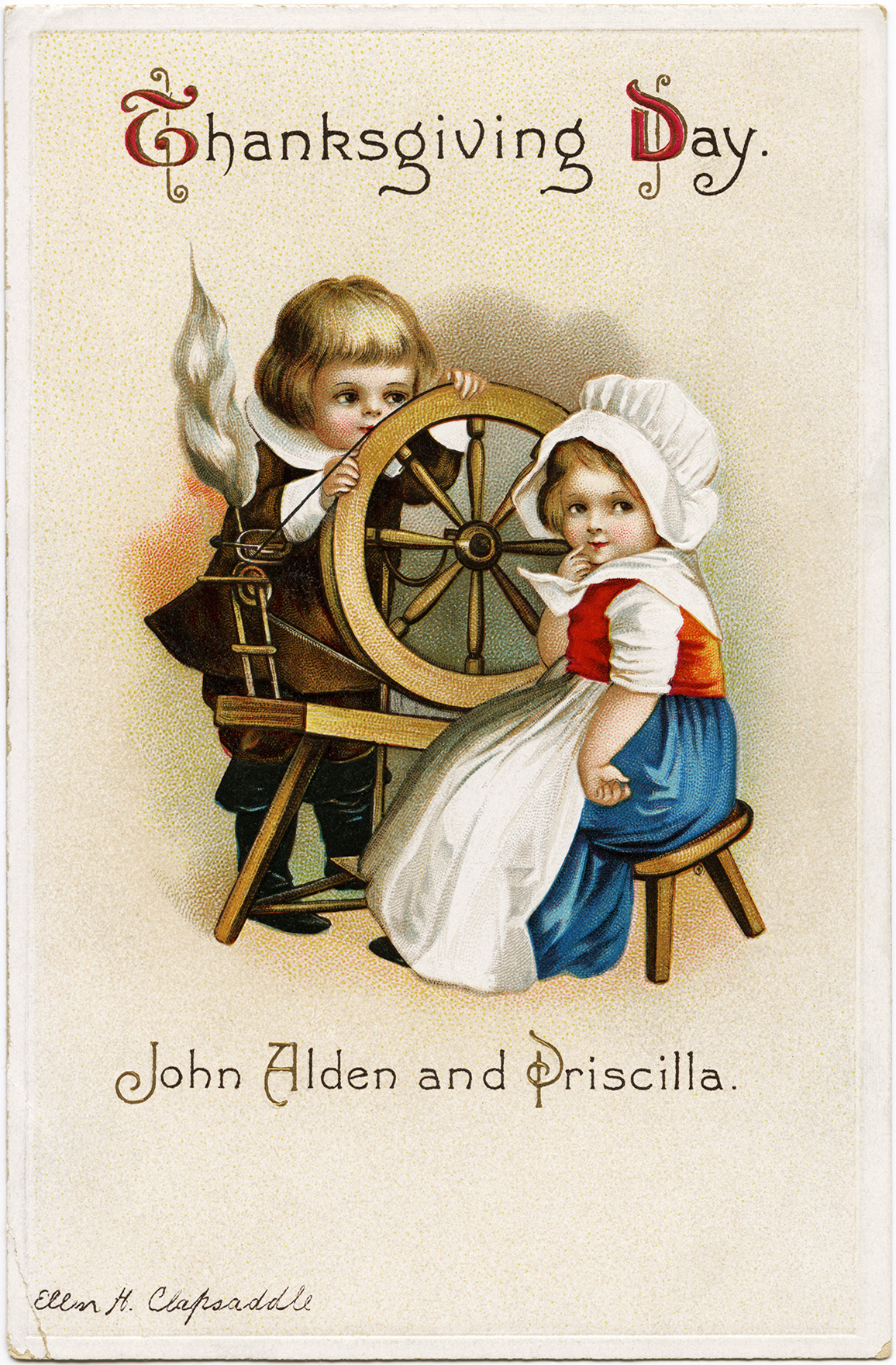 Free Vintage Clapsaddle Thanksgiving Postcard Graphic ~ John Alden and Priscilla