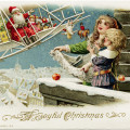 john winsch 1913 postcard, santa delivering gifts by plane, santa biplane image, vintage christmas clipart, old fashioned christmas graphic