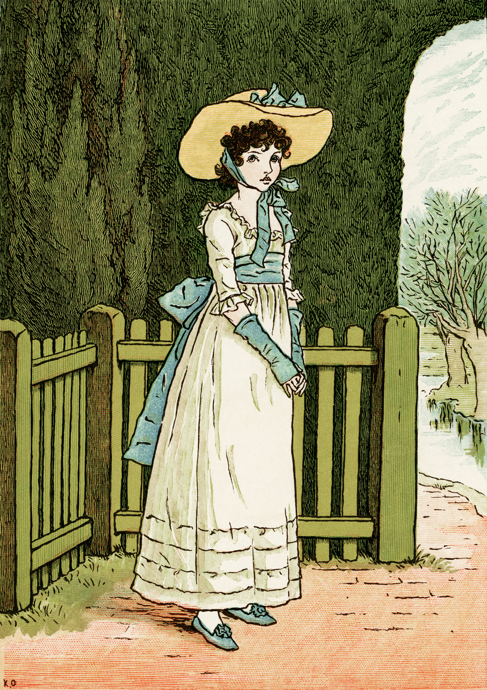 kate greenaway, marigold garden, vintage storybook clipart, susan blue poem illustration, Victorian girl clip art