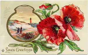 free vintage postcard graphic, poppy clipart, old fashioned greeting card, antique floral image, printable flowers postcard