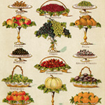 mrs beeton dessert, old cookbook page, vintage food clipart, book of household management, vintage printable fruit