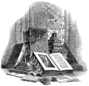 vintage book clip art, black and white clipart, stack of books engraving, antique book case image, display of books illustration