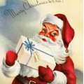 vintage santa clip art, old fashioned christmas card, retro christmas graphic, old fashioned santa printable, santa in sleigh image