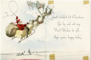 santa clip art, old fashioned christmas card, retro christmas graphic, vintage printable santa, santa in sleigh image