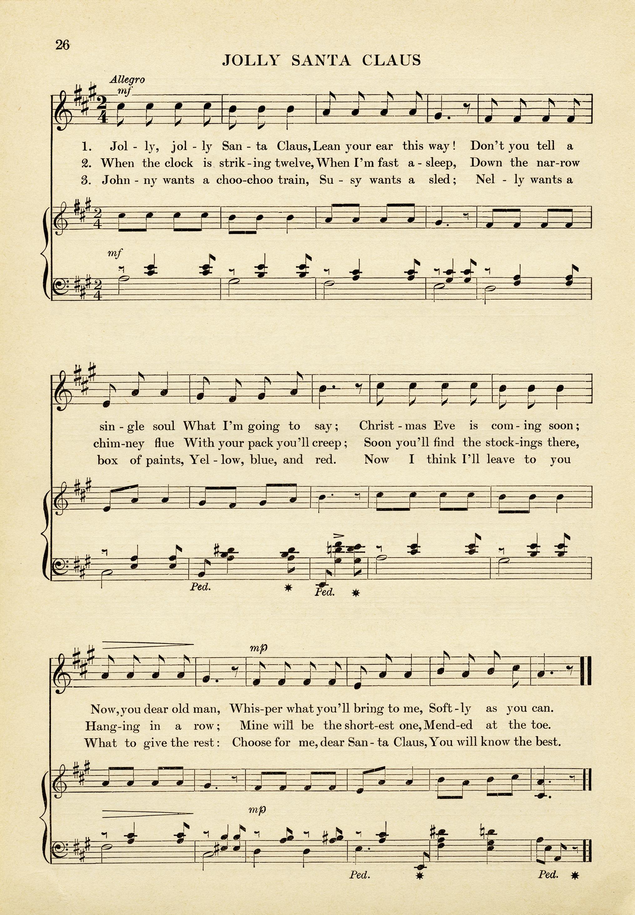 Jolly Santa Claus Vintage Sheet Music - Old Design Shop Blog