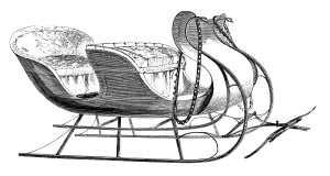 vintage clip art sleigh, free black and white clipart, victorian transportation image, horse carriage engraving, santa sleigh illustration