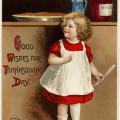 vintage clapsaddle postcard, antique thanksgiving card, girl baking clipart, red dress wooden spoon pie mince, old fashioned cooking image
