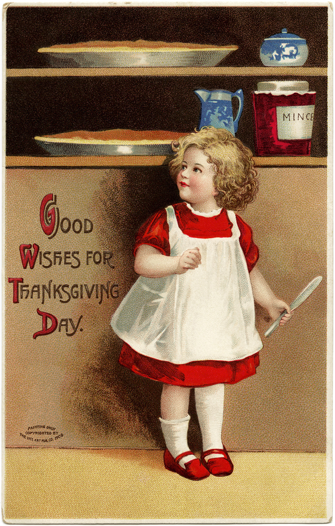 Vintage Clapsaddle Postcard Antique Thanksgiving Card Girl Baking Clipart Red Dress Wooden Spoon
