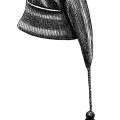 vintage hat clipart, warm winter toque, long hat with tassel, black and white clip art, free vintage hat image