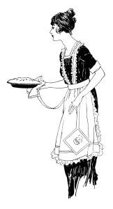vintage food clipart, woman serving pie, free black and white clip art, retro lady wearing apron, printable kitchen image