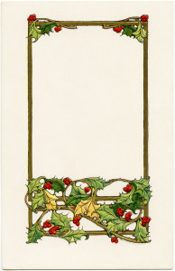 vintage christmas postcard, old fashioned christmas graphic, holly and berries clipart, yuletide greetings, antique holiday clip art