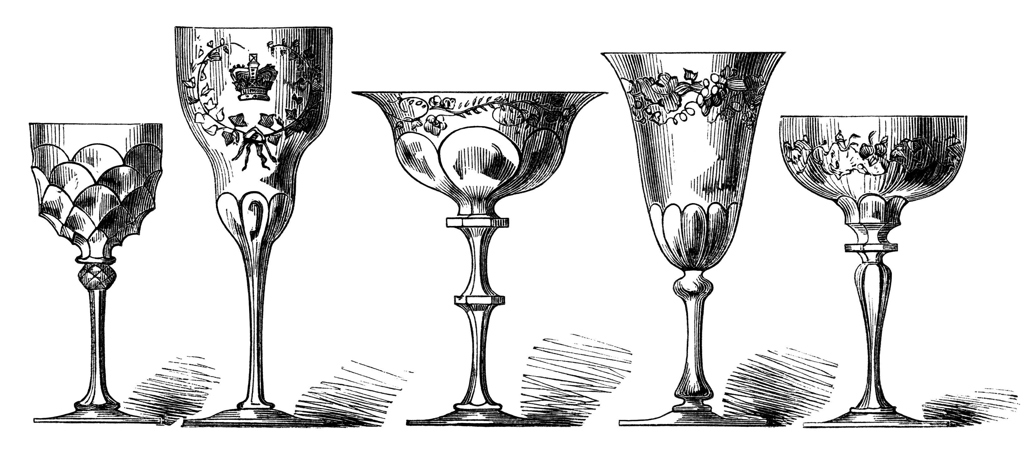 Antique wine glasses engraving free digital clip art for Painting while drinking wine