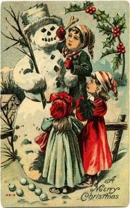 Free vintage clip art Victorian children building snowman Christmas postcard image