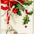 ellen clapsaddle, vintage christmas postcard, wish bones bows card, old fashioned holiday graphic, holly berries image