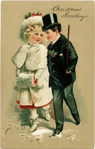 Free vintage clip art Christmas postcard image girl boy nicely dressed