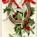 Ellen Clapsaddle, vintage christmas postcard, antique horseshoe card, wishbone holly berries image, printable christmas graphic