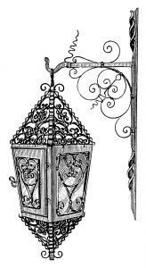 vintage lamp clip art, black and white clipart, victorian lighting image, old fashioned wrought iron light, antique hanging lamp illustration