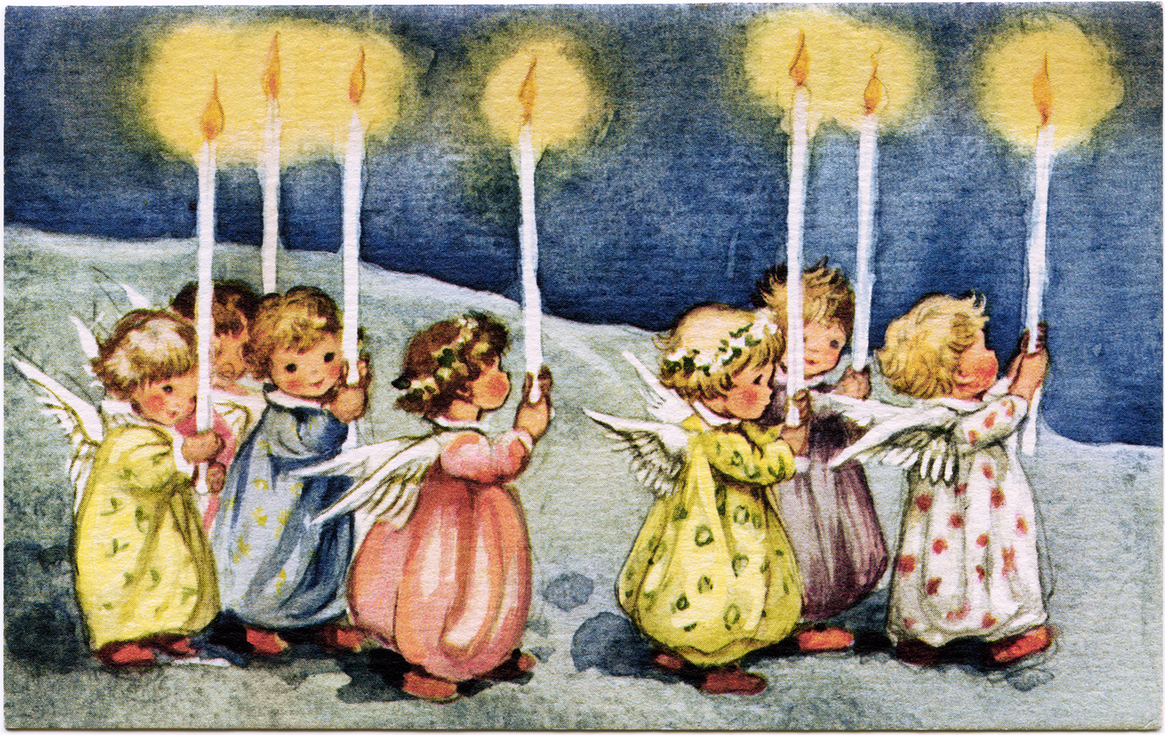 Little angels carrying candles vintage greeting card graphic card vintage angel clipart little angels with candles old fashioned christmas graphic printable holiday kristyandbryce Image collections