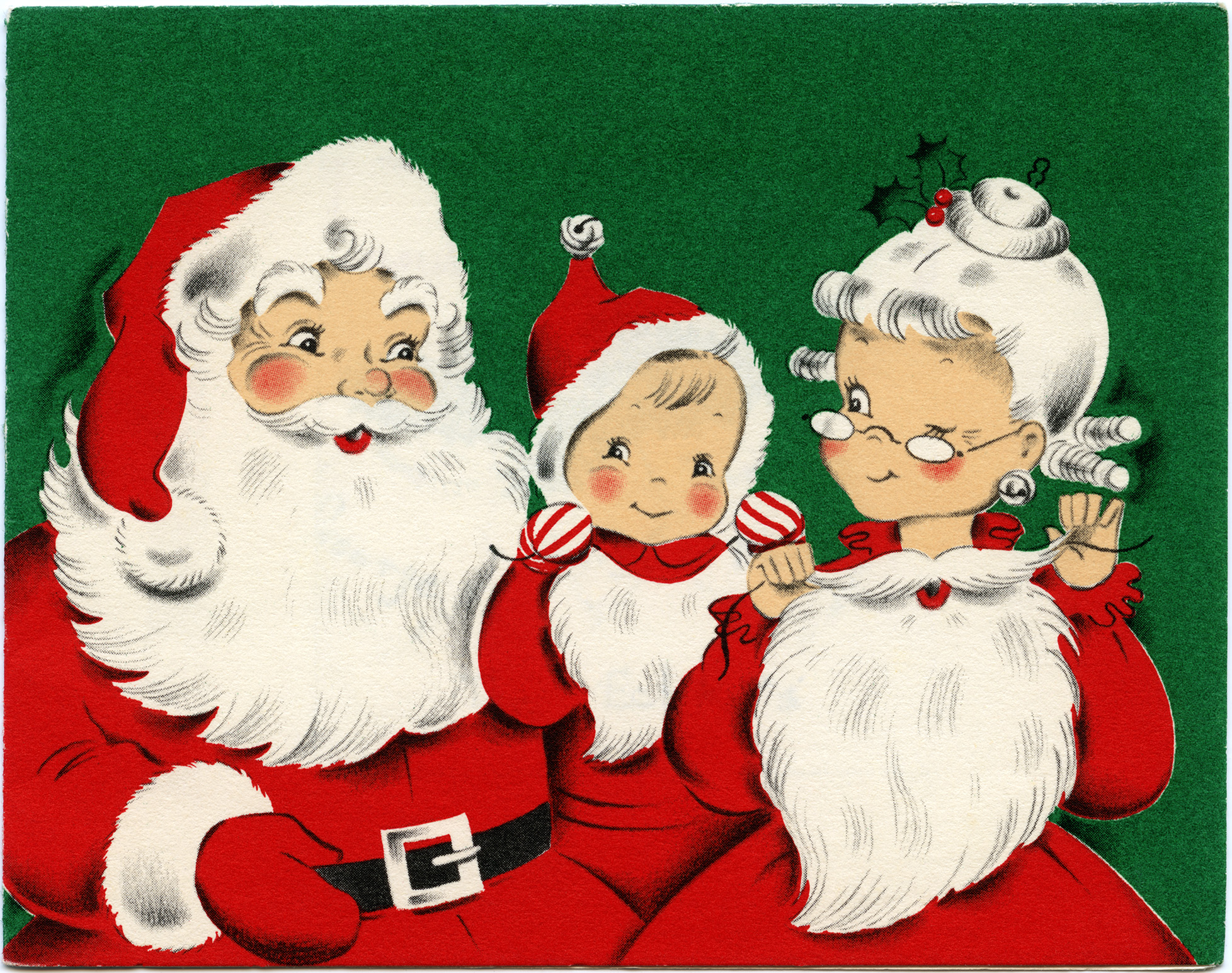 Santa Family Vintage Christmas Greeting Card Free Download Old