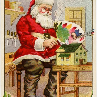 vintage christmas postcard, santa painting doll house, santa claus workshop, paint palette st nicholas, antique holiday card