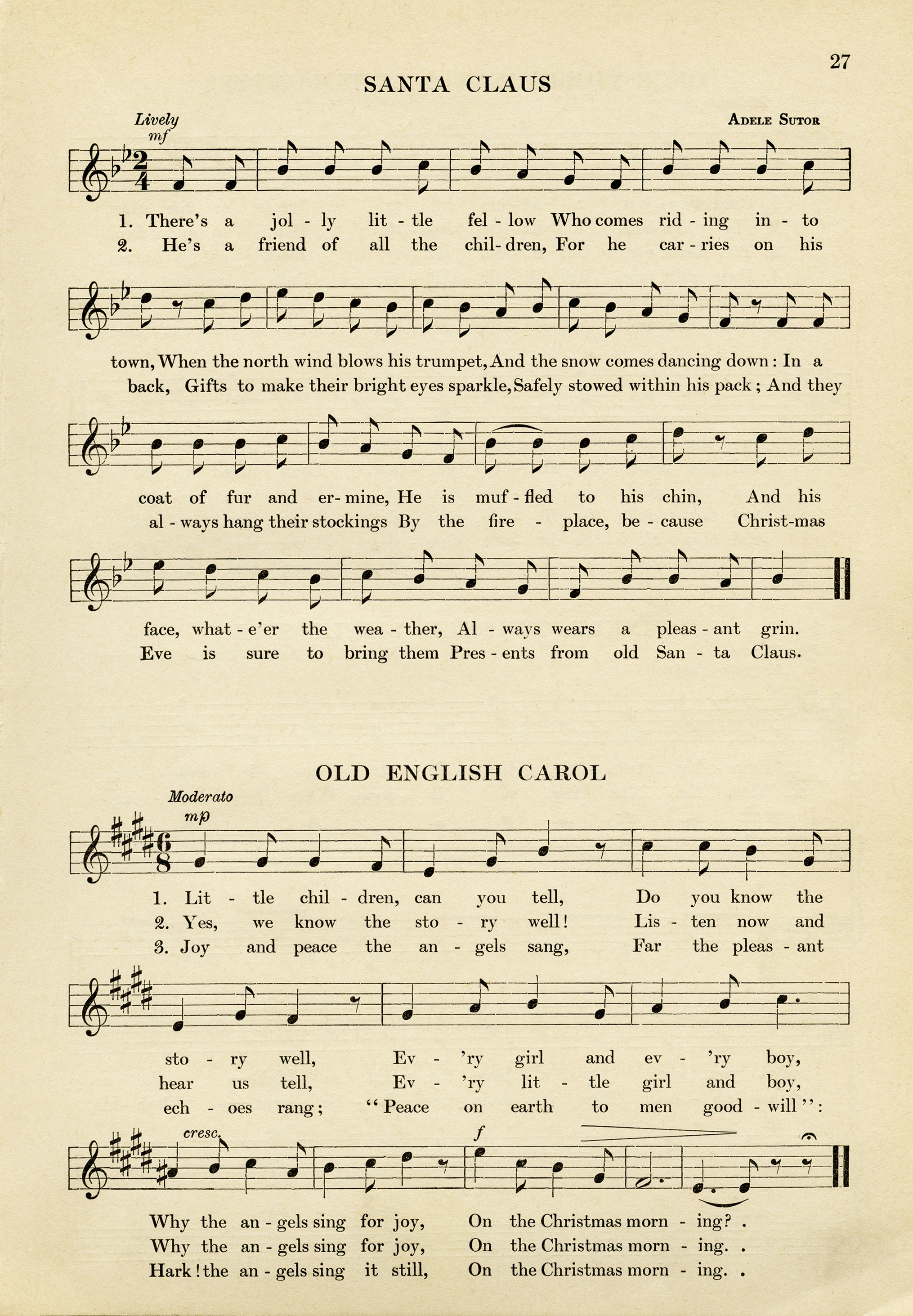 vintage sheet music santa claus song old fashioned christmas music free music graphic - Christmas Music Download
