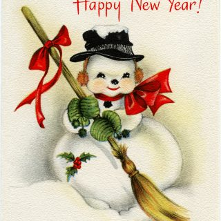 Vintage Snowman New Year Greeting Card