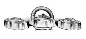 vintage laundry clipart, old fashioned iron image, antique catalog ad, black and white clip art, vintage clothing iron illustration