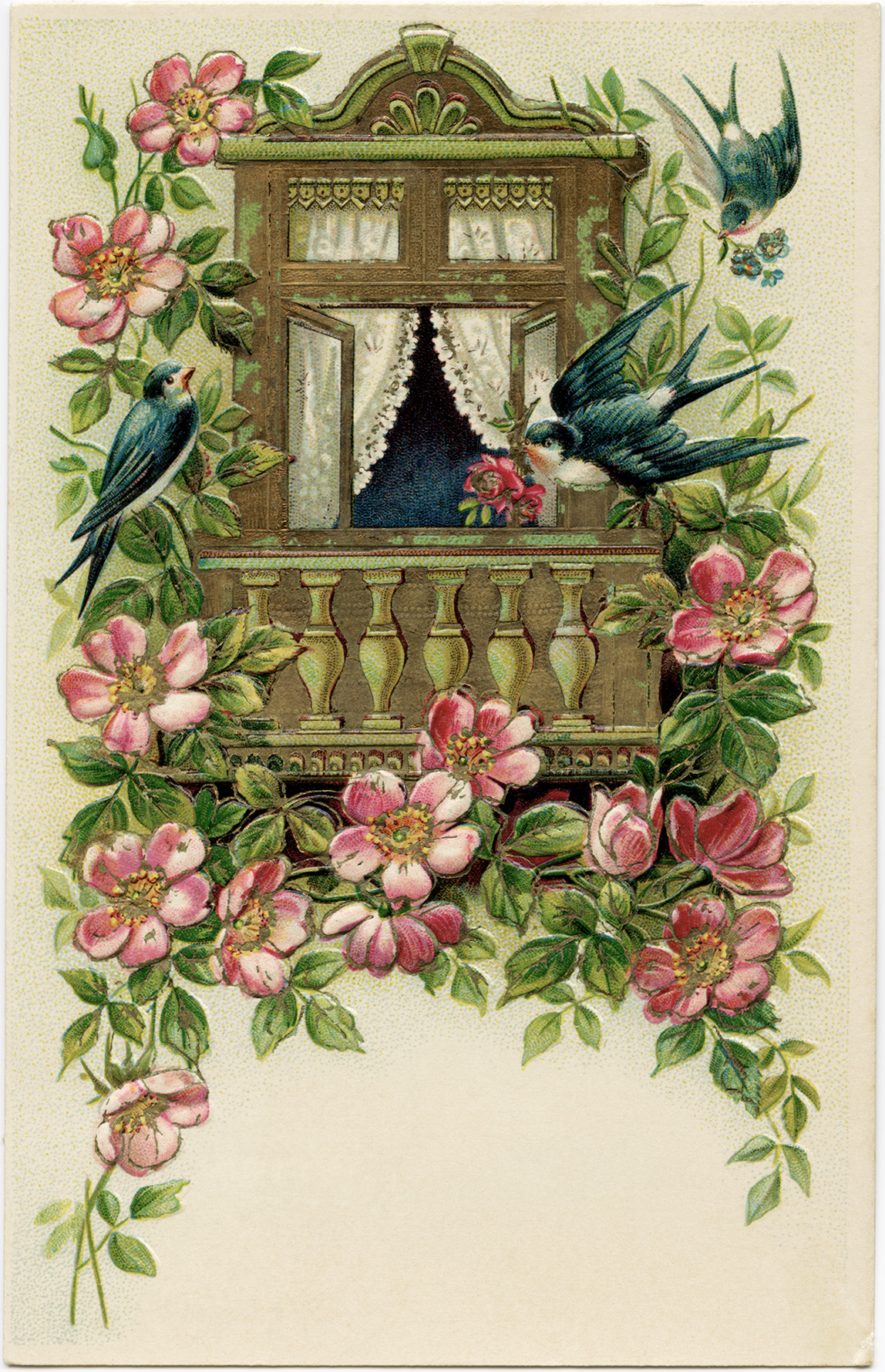 Birds And Flowers Postcard Free Vintage Image Old