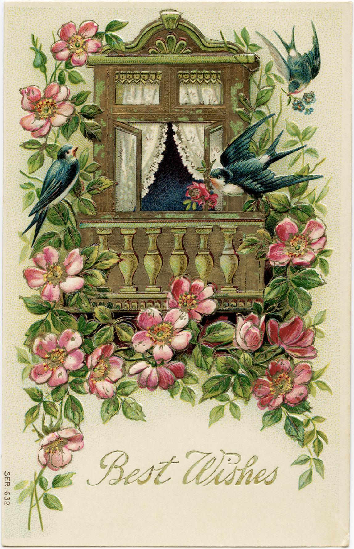 old postcard, digital vintage postcard, birds flowers image, vintage ephemera, free vintage printable