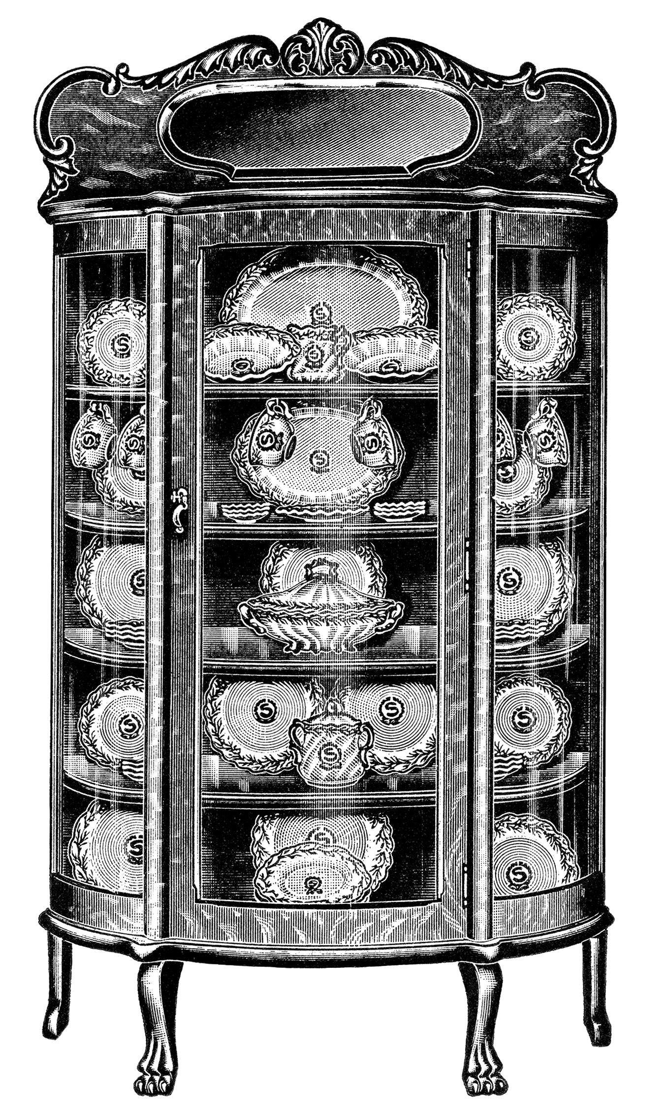 China Cabinets From The Page Vintage Kitchen Clipart Black And White Clip Art Antique Furniture Image Printable