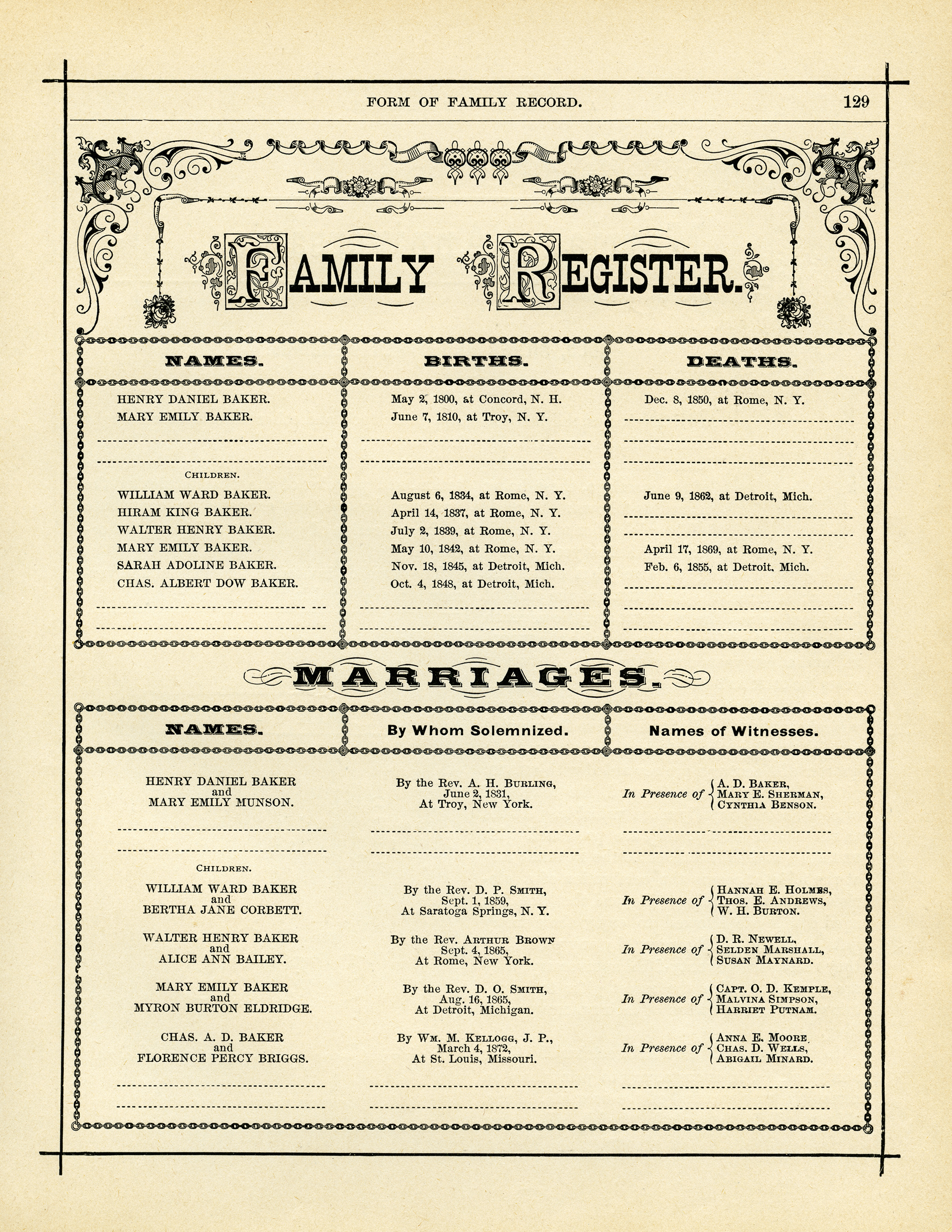 antique form of family record free digital graphics old design