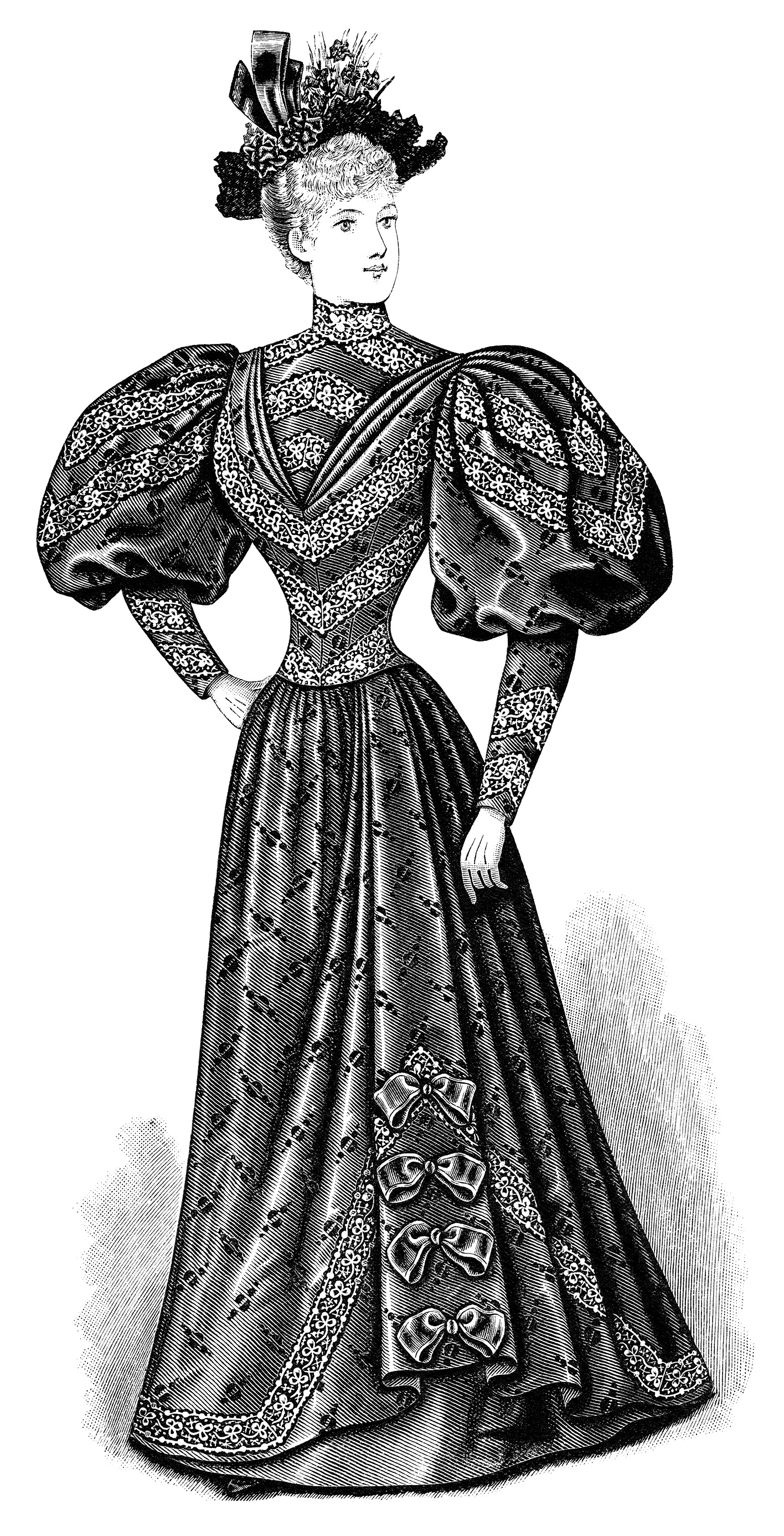 black and white clip art, Edwardian fashion, vintage dress clipart, Victorian lady, Victorian gown image, antique clothing for women