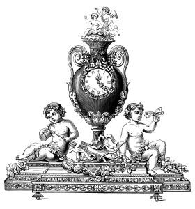 black and white clipart, old fashioned clock, vintage clock clip art, cherub clock, antique ornate clock