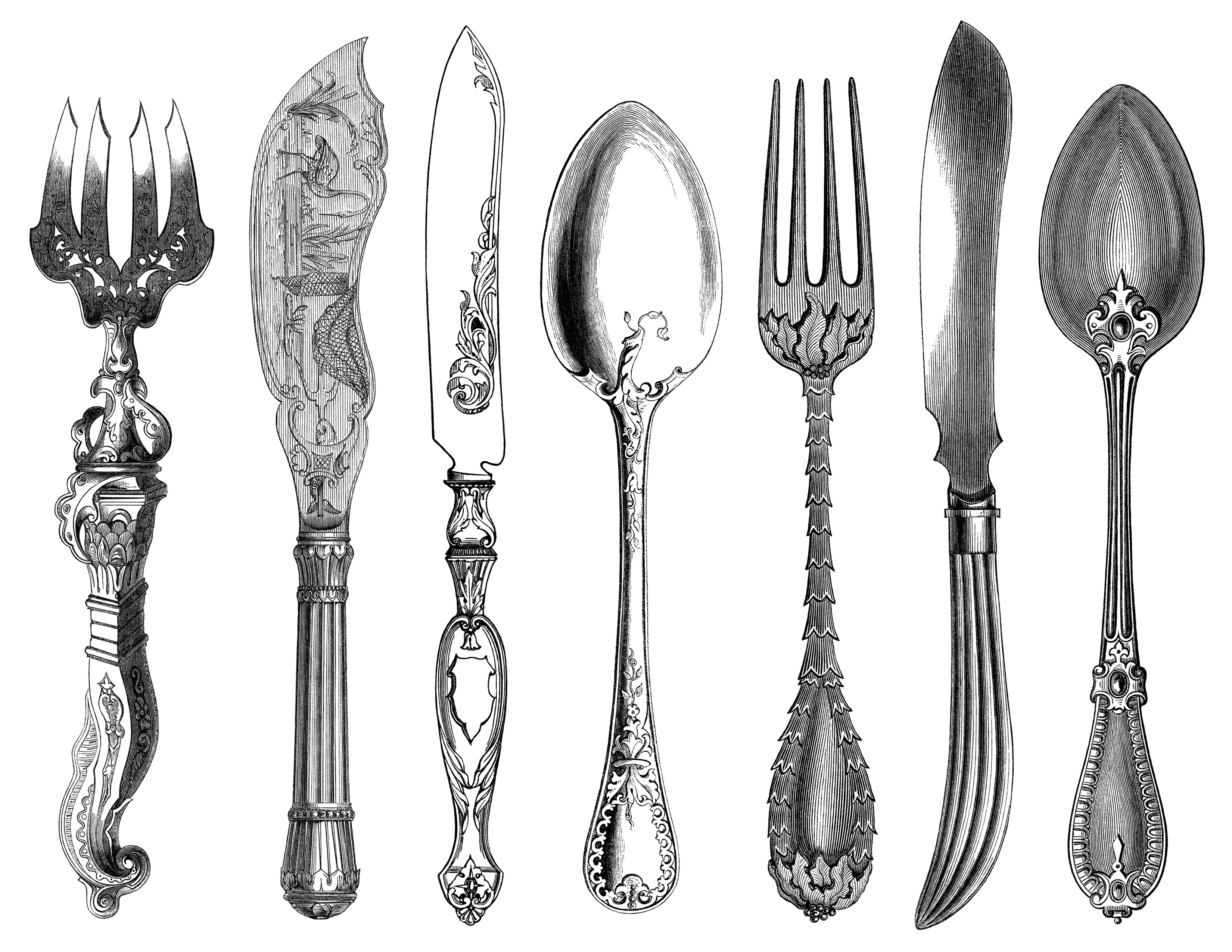 Antique Cutlery Engravings ~ Free Clip Art