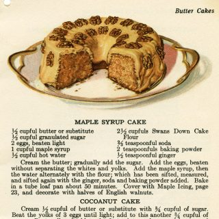 free vintage cookbook page cake recipe